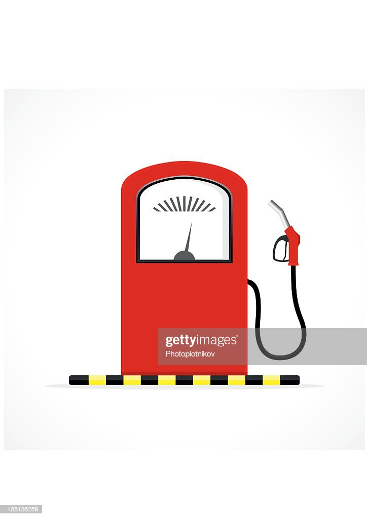 Gas station pump with fuel nozzle.