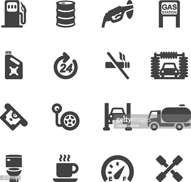 gas station silhouette icons | eps10 - tire vehicle part stock illustrations, clip art, cartoons, & icons