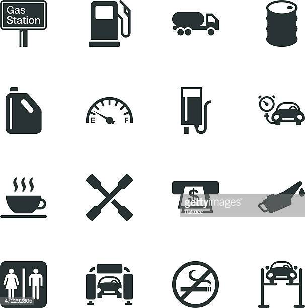 Gas Station Silhouette Icons