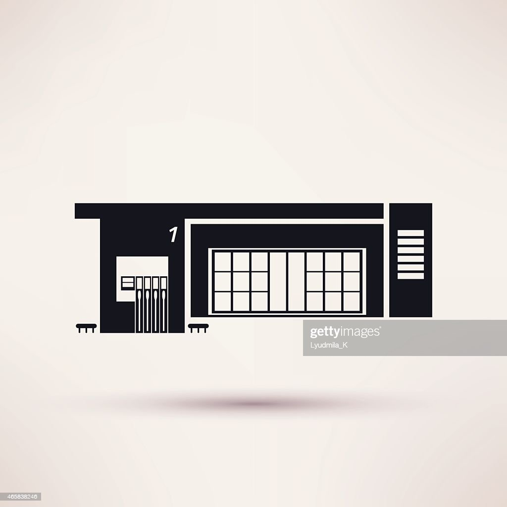 Gas station. The building is an icon flat style.