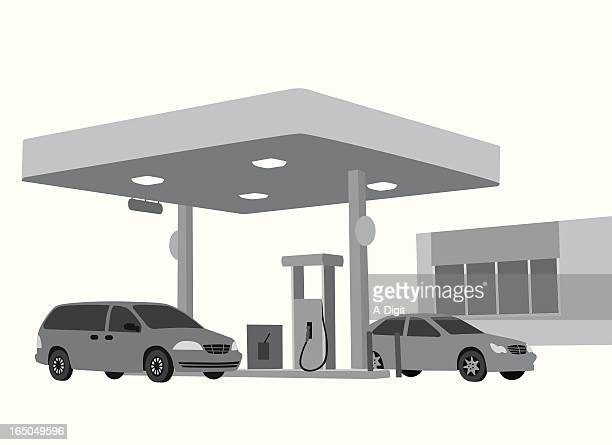gas station vector silhouette - petrol stock illustrations, clip art, cartoons, & icons