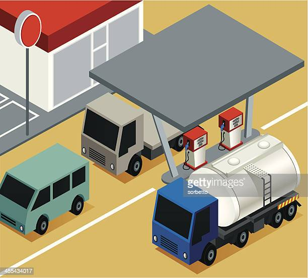 gas station with tanker - fuel station stock illustrations, clip art, cartoons, & icons