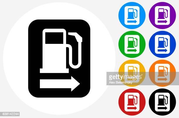 ilustrações, clipart, desenhos animados e ícones de gas stop icon on flat color circle buttons - abastecendo