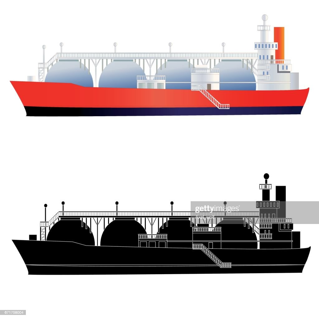 LNG gas tanker with silhouette. Isolated