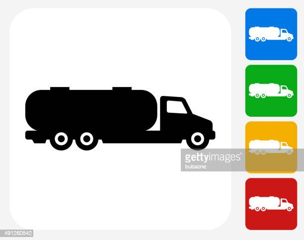 gas truck icon flat graphic design - oil tanker stock illustrations, clip art, cartoons, & icons
