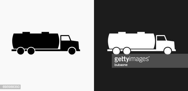 gas truck icon on black and white vector backgrounds - oil tanker stock illustrations, clip art, cartoons, & icons