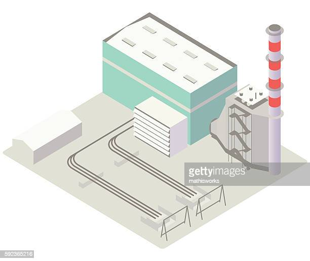 gas turbine power plant illustration - mathisworks architecture stock illustrations