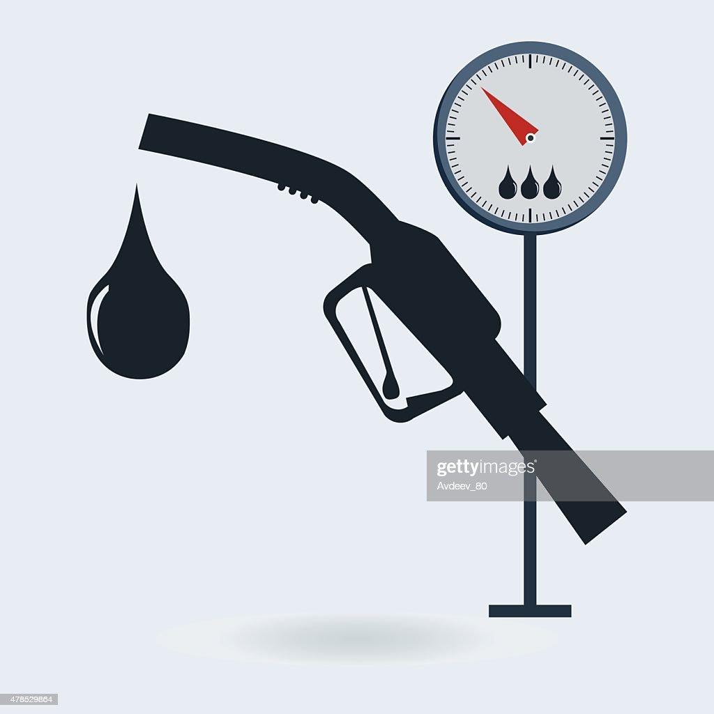 Gasoline pump nozzle sign. Gas station icon. ,fuel gauge