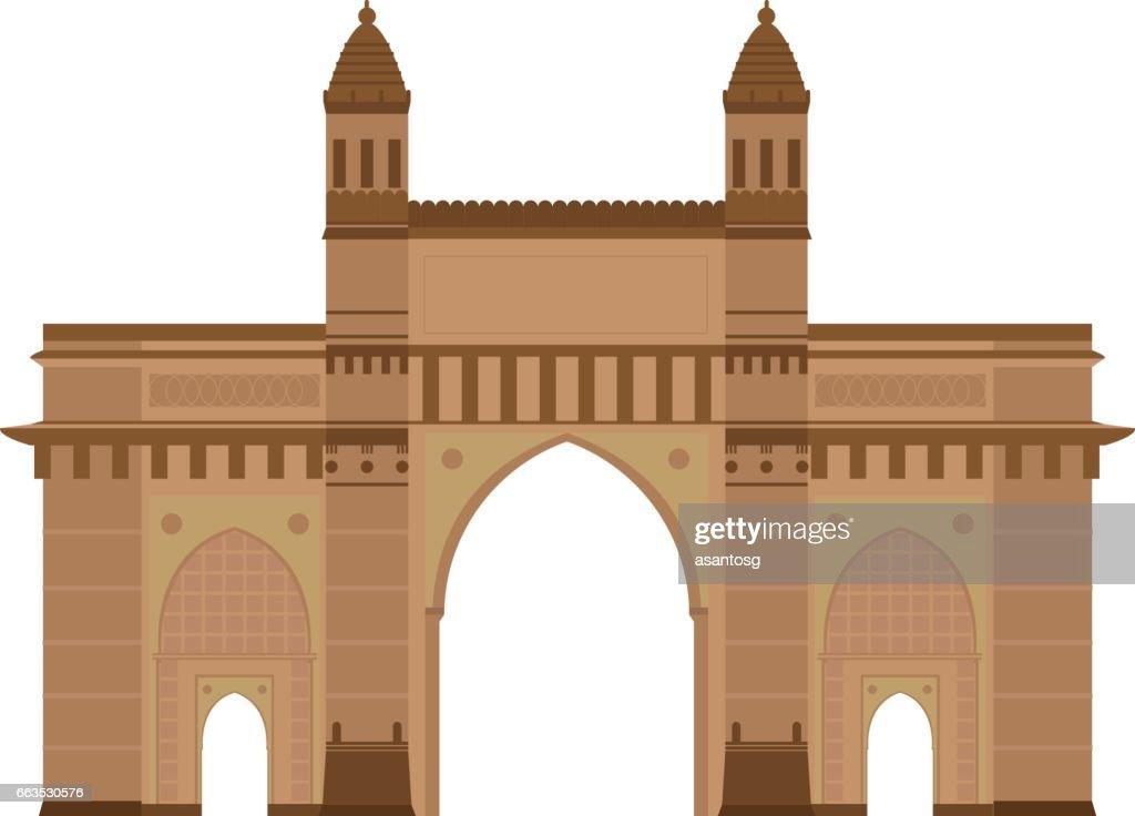 Gate of India, Mumbai (Bombay) Vector illustration.