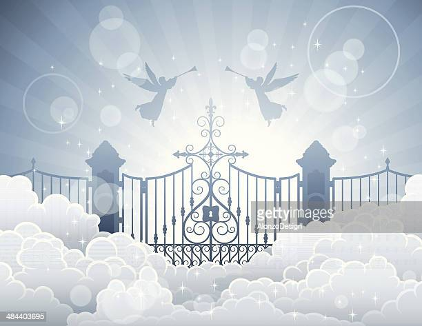 gates of heaven - heaven stock illustrations