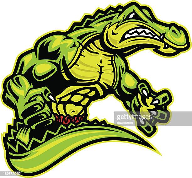 gator fighter upper body ii - alligator stock illustrations, clip art, cartoons, & icons