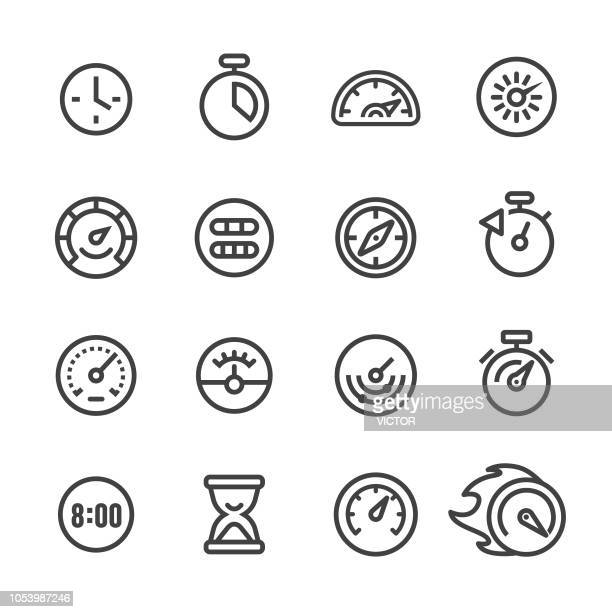 gauge and speedometer icons - line series - speedometer stock illustrations