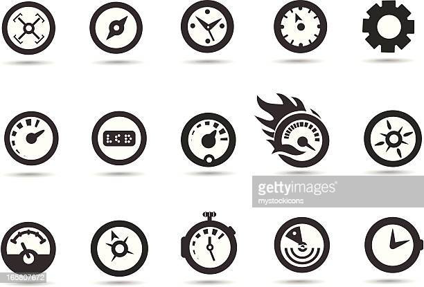 gauge and speedometer icons - odometer stock illustrations, clip art, cartoons, & icons