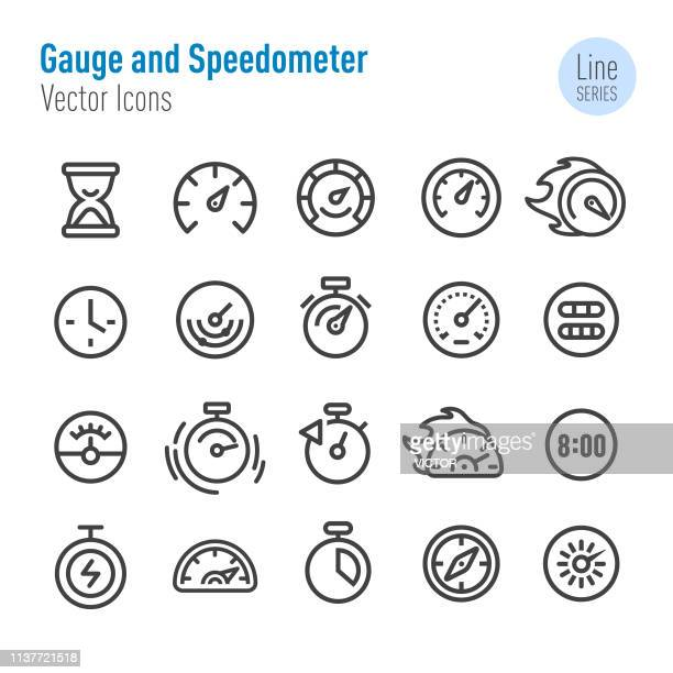 gauge and speedometer icons - vector line series - speedometer stock illustrations
