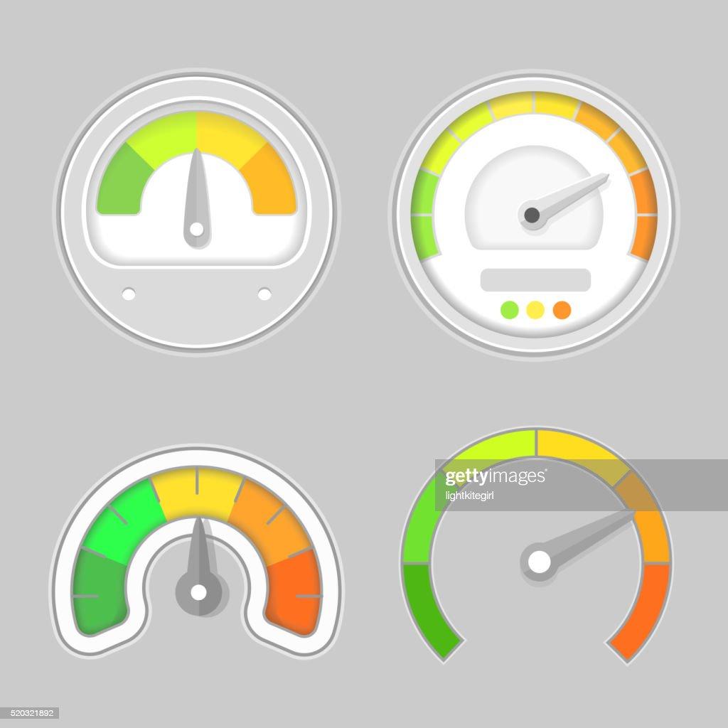Gauge meter element. Vector illustration. Speedometer icon