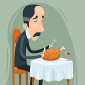 Gaunt Aristocrat Man Eat Roasted Chicken with Wine Character Icon