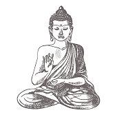 Gautama buddha with raised right hand on vector illustration