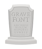 Gave font. Ancient carved on tombstone of ABC. Tomb alphabet.