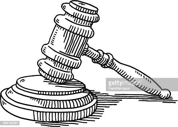 gavel and soundblock justice drawing - courthouse stock illustrations, clip art, cartoons, & icons