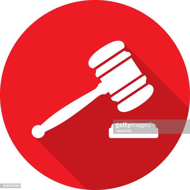 ilustrações de stock, clip art, desenhos animados e ícones de gavel circle icon silhouette - crime or recreational drug or prison or legal trial