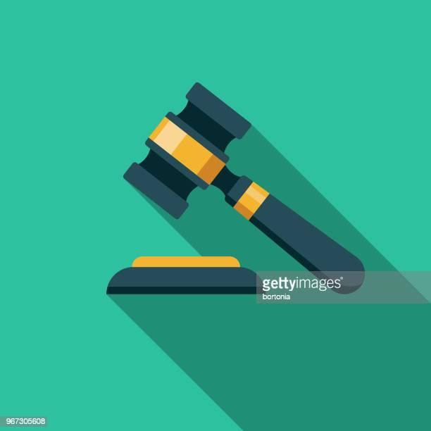 hammer-flaches design-verbrechen & strafe symbol - justizsystem stock-grafiken, -clipart, -cartoons und -symbole