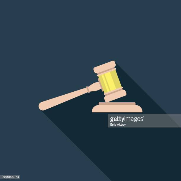 gavel flat icon - courthouse stock illustrations, clip art, cartoons, & icons