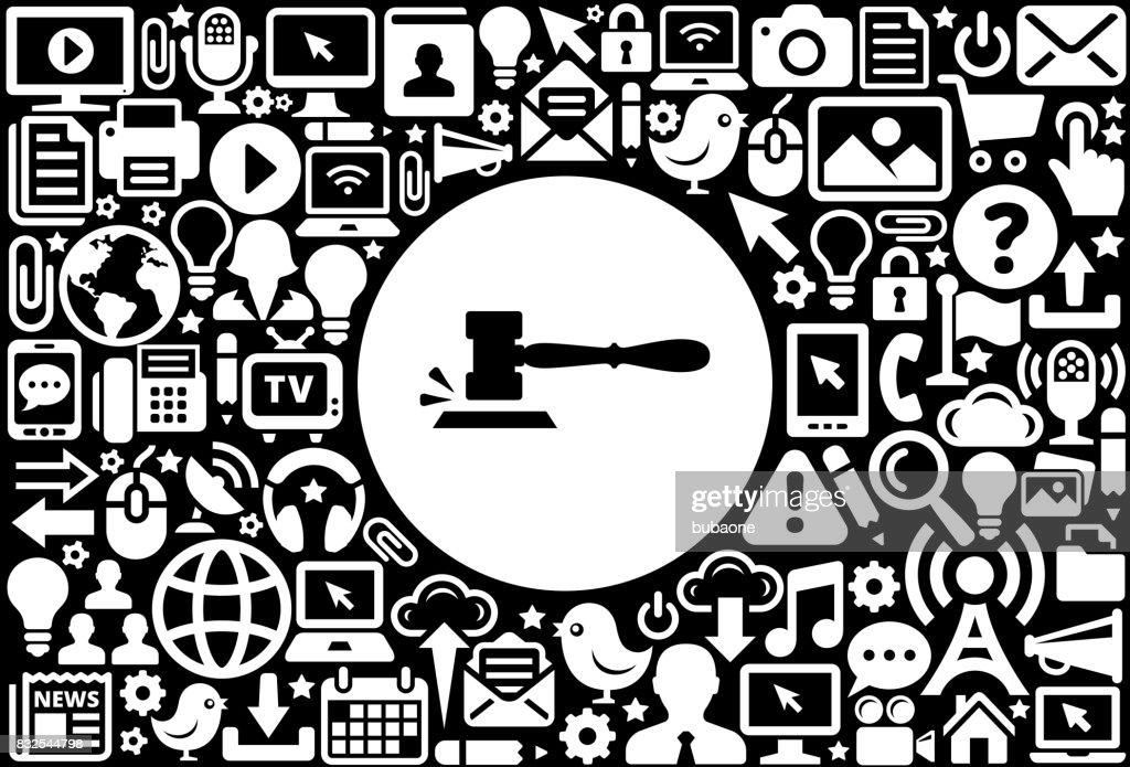 Gavel Icon Black and White Internet Technology Background