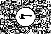 Gavel Icon Black and White Internet Technology Background