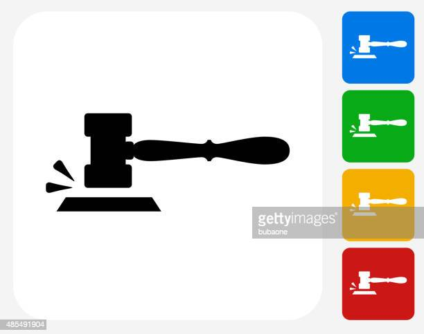 gavel icon flat graphic design - courthouse stock illustrations, clip art, cartoons, & icons