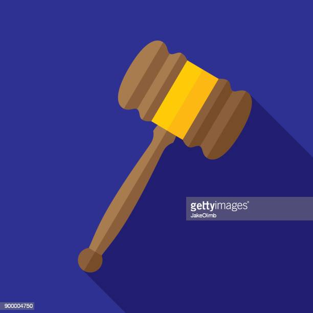 gavel icon flat - lawsuit stock illustrations