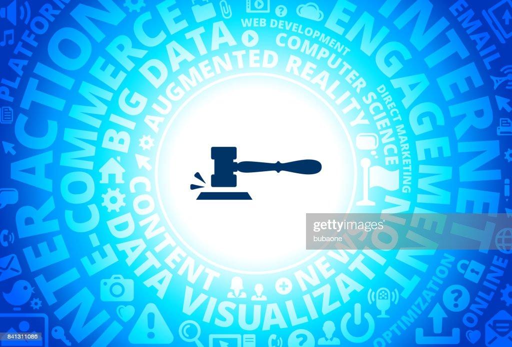 Gavel Icon on Internet Modern Technology Words Background