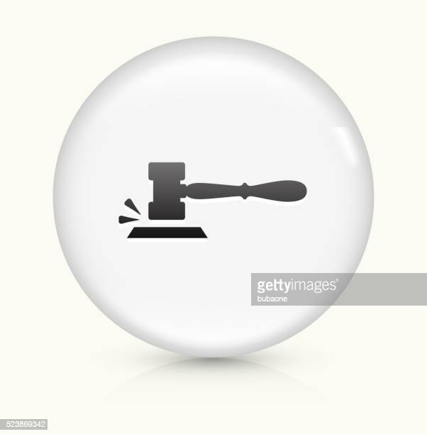 gavel icon on white round vector button - mallet hand tool stock illustrations