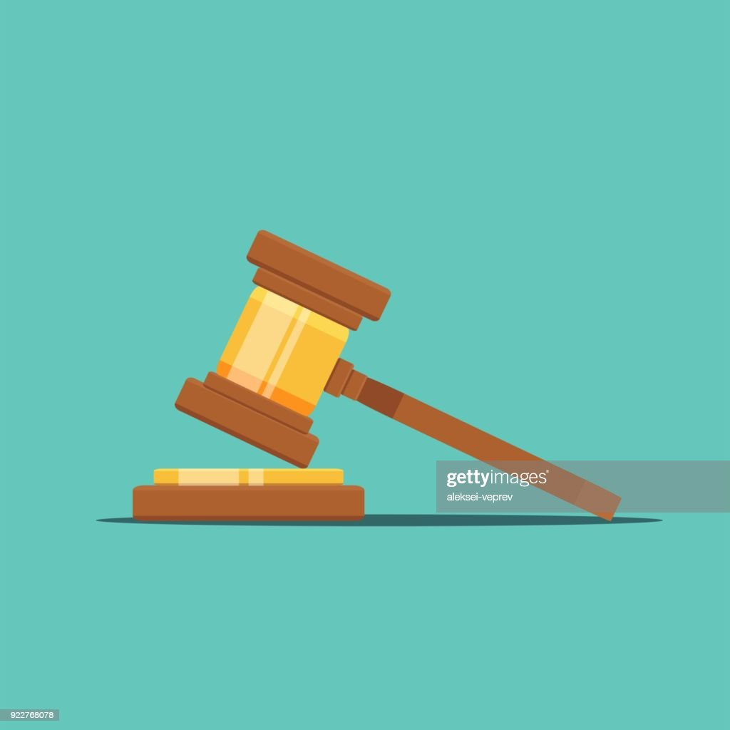 Gavel judge vector illustration in a flat style