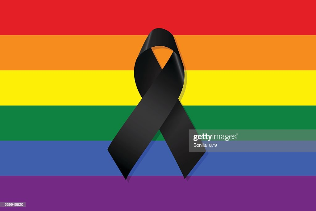 Gay and lesbian flag with a black ribbon vector