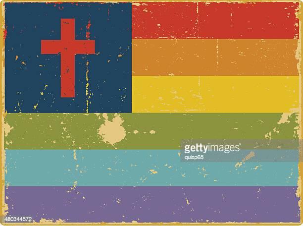 gay christian flag - gay stock illustrations, clip art, cartoons, & icons