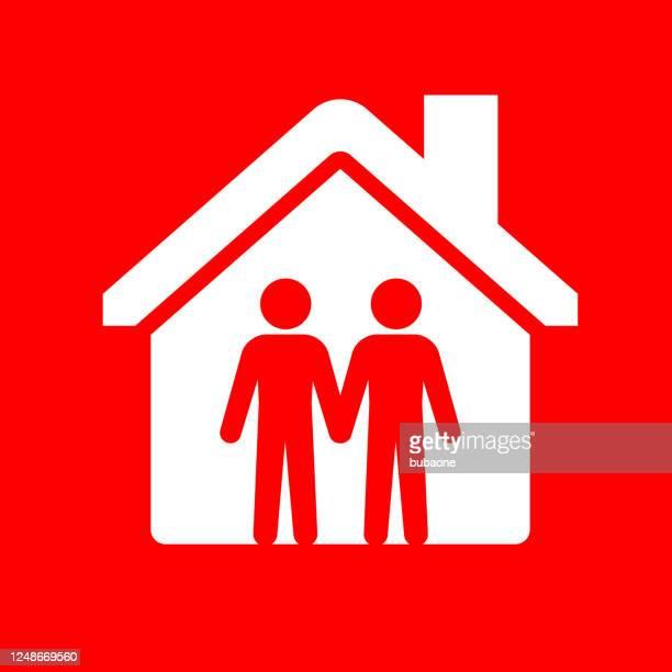 家のアイコンでゲイカップル - ゲイ点のイラスト素材/クリップアート素材/マンガ素材/アイコン素材