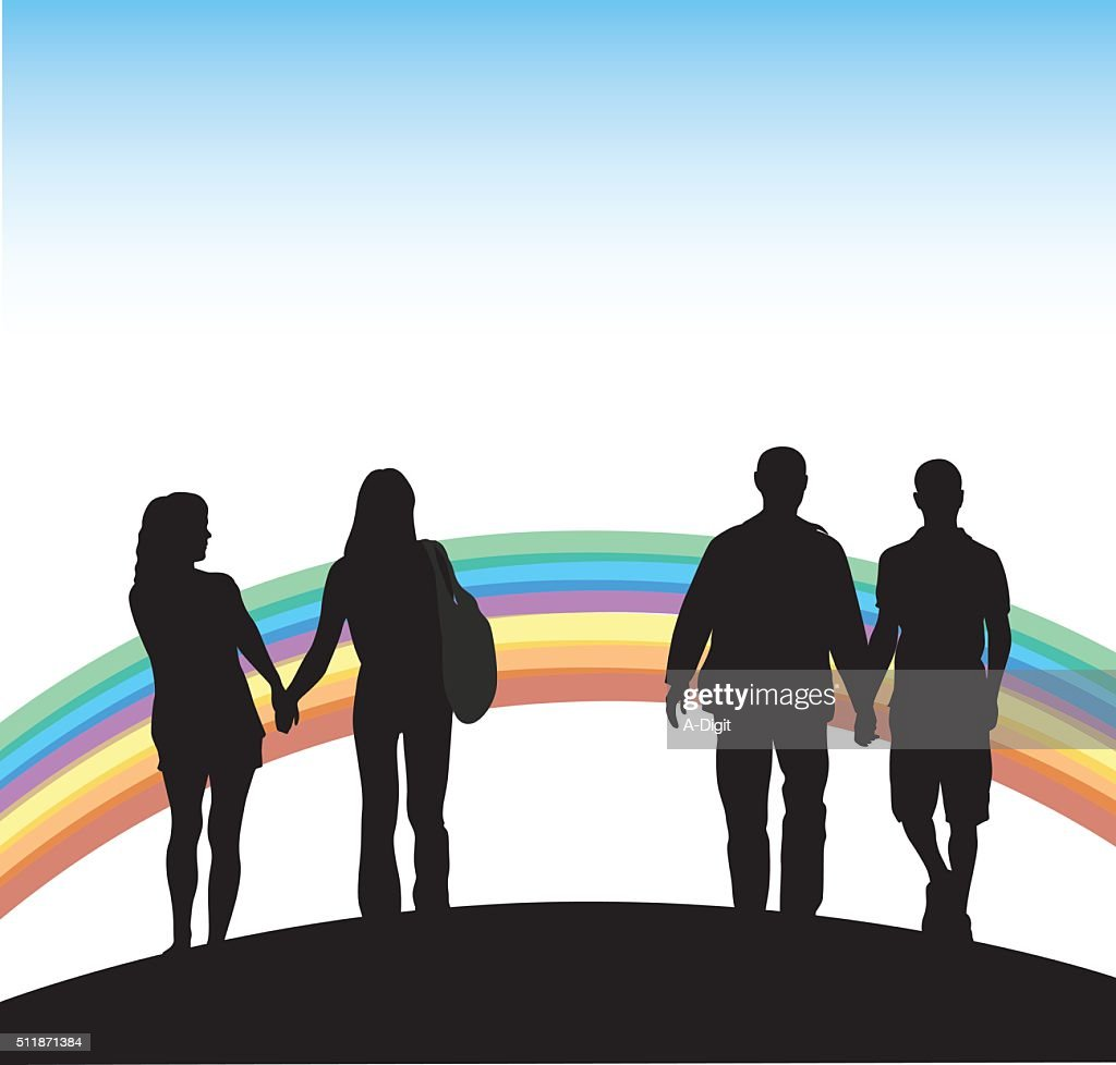Gay Couples And Rainbow