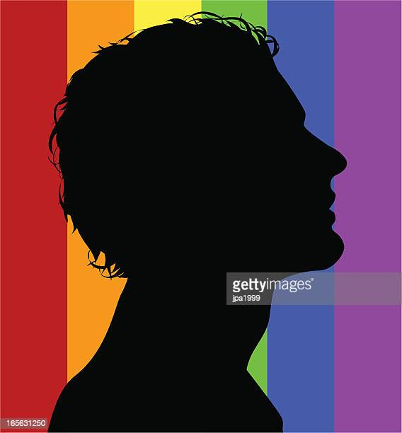 Gay guy on rainbow background