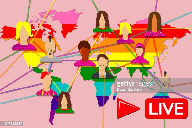 ゲイの人口とインターネットネットワーク - ゲイ・パレード点のイラスト素材/クリップアート素材/マンガ素材/アイコン素材