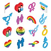 Gay pride isometric 3d icons