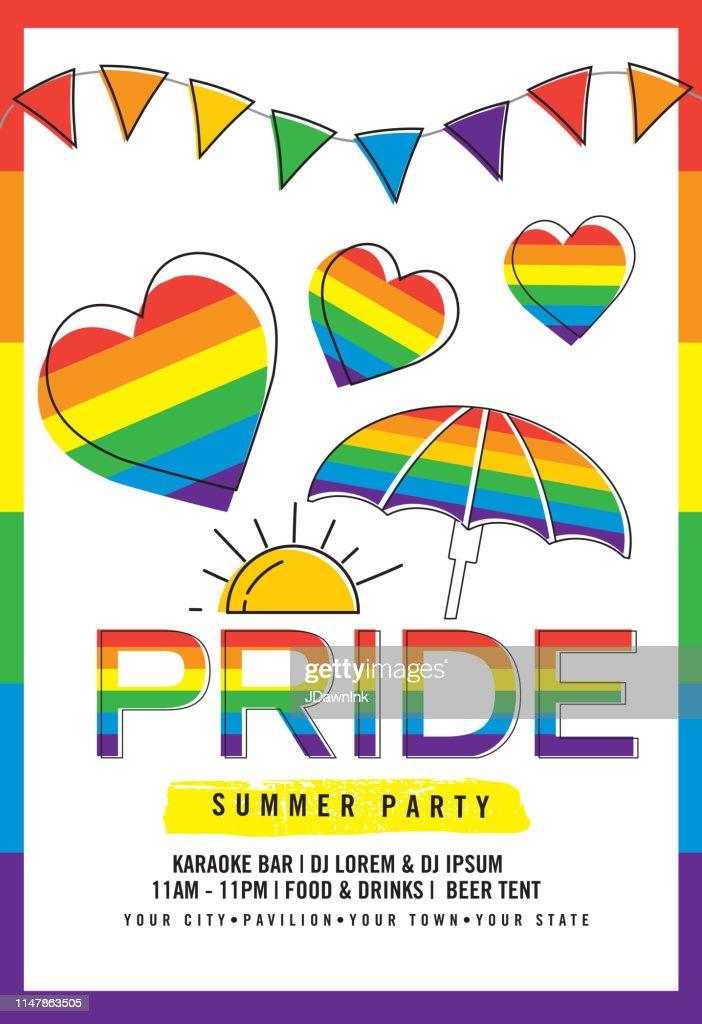 ゲイプライドや LGBT パーティー夏のポスターデザインテンプレート : ストックイラストレーション