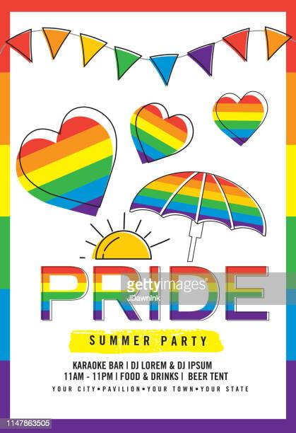 gay pride or lgbt party summer poster design template - pride stock illustrations