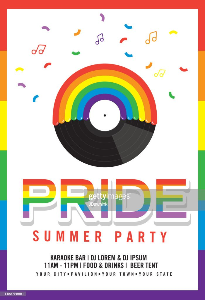 Gay Pride or LGBT party summer poster design template : stock illustration