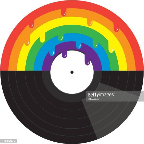 ゲイプライドや lgbt プライドのコンセプト虹とドリップとビニールレコード - lgbtqiプライドイベント点のイラスト素材/クリップアート素材/マンガ素材/アイコン素材