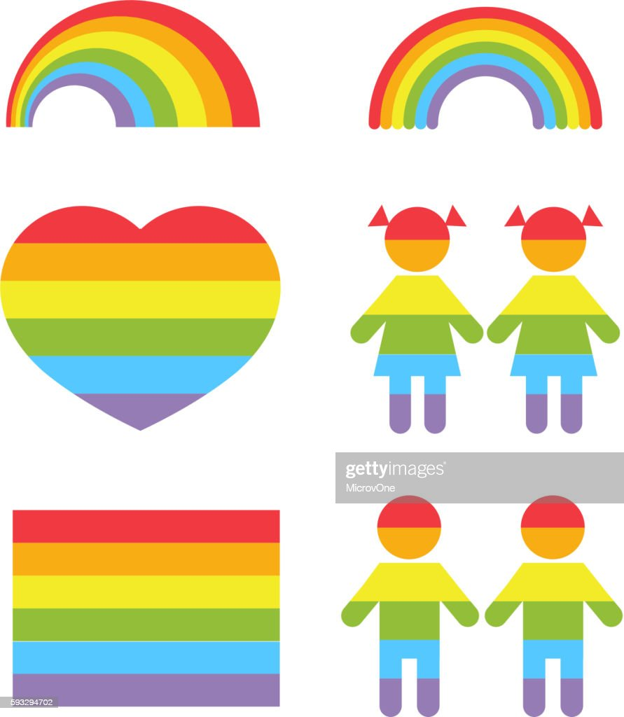 Gay pride rainbow heart and colors shapes vector set