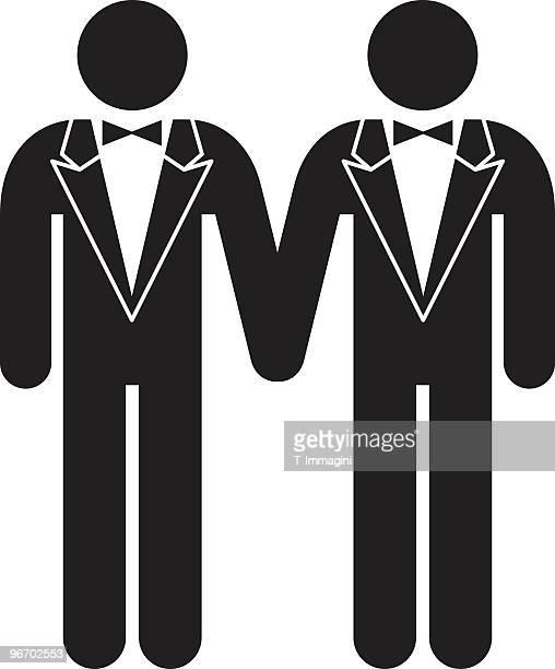 gay wedding - homosexual couple stock illustrations