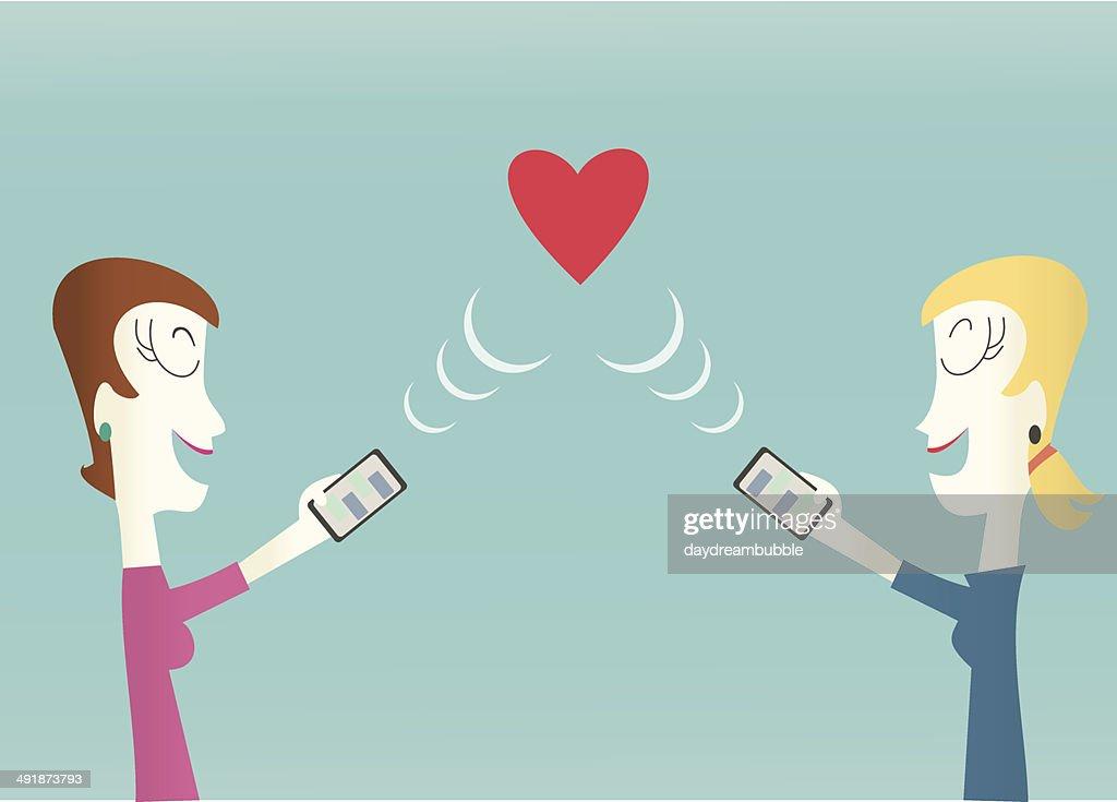 Gay Women Online Dating Concept