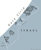 Gaza Strip political map gray