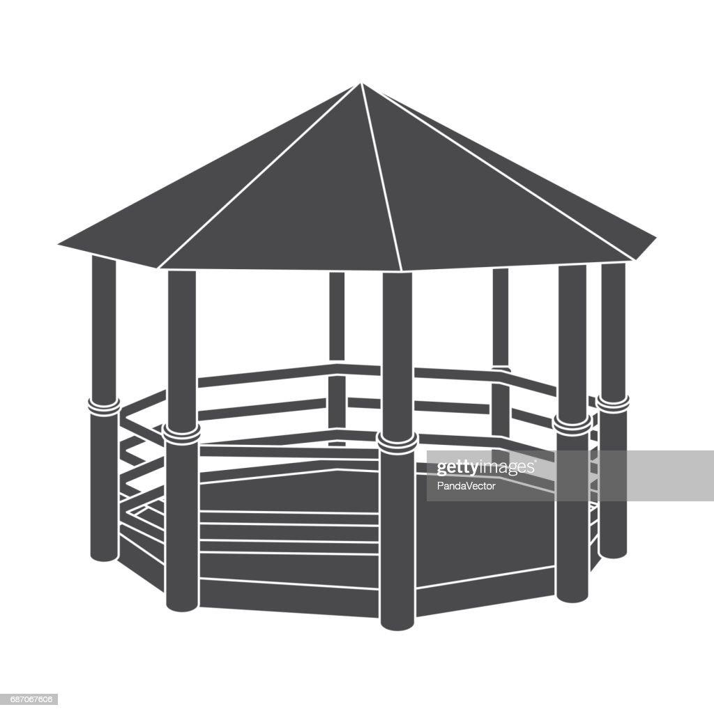 Gazebo icon in black style isolated on white background. Park symbol stock vector illustration.