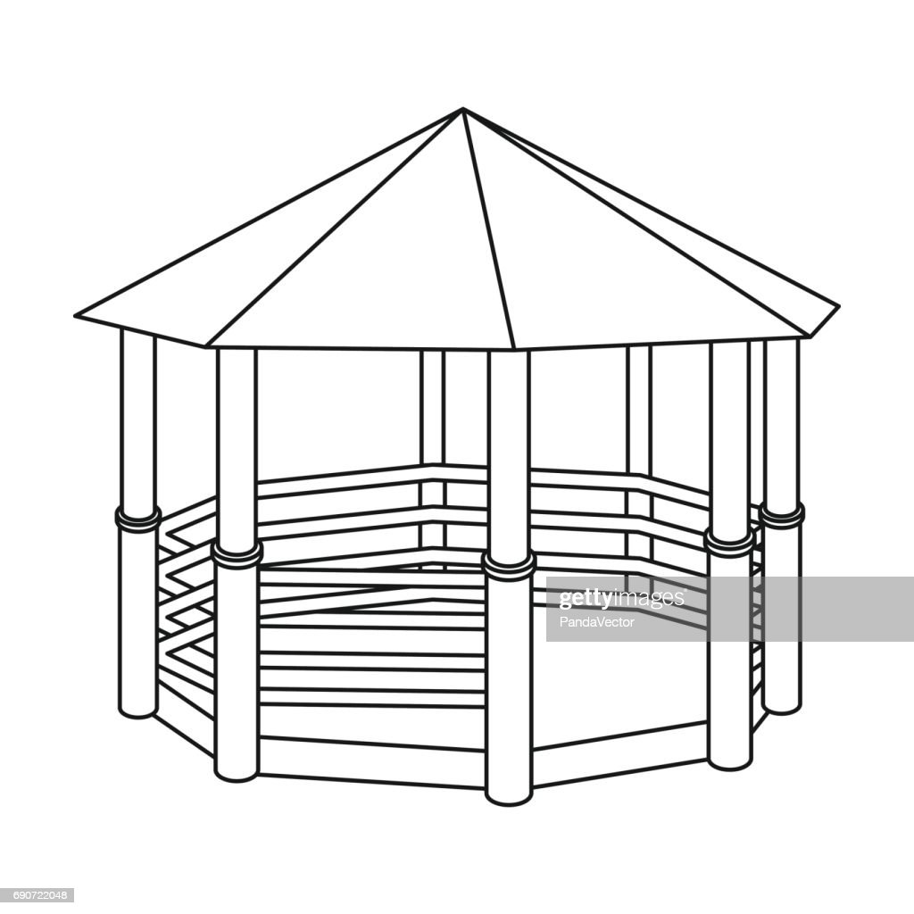 Gazebo icon in outline style isolated on white background. Park symbol stock vector illustration.